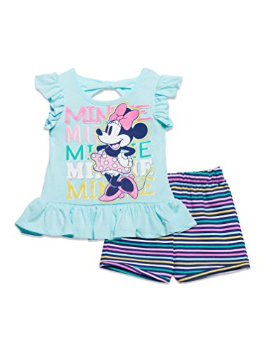 Disney Minnie Mouse Little Girls T-Shirt and French Terry Shorts Set Blue 6X