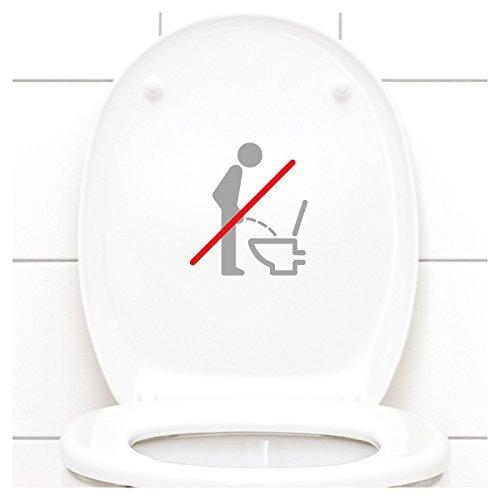 Grandora WC Deckel Sticker - Bitte im Sitzen pinkeln Schild I Silbergrau 11 x 12 cm I Piktogramm WC Bad Badezimmer Toilette Klodeckel Aufkleber W733