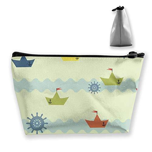 Hintergrundmuster der Welle auf Papierboot Praktische Kosmetik Aufbewahrungsbeutel, Mode Hintergrundmuster der Welle auf Papierboot Schmuck Aufbewahrungsbeutel