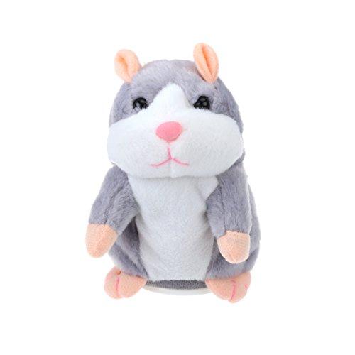 TOYMYTOY Plüsch Hamster, wiederholt was du sagst lustiger Hamster Plüschtier Interaktives Stofftier Geburtstagsgeschenke für Kinder (grau)