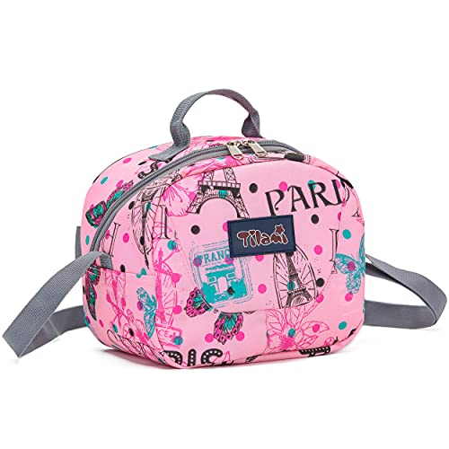Insulated Lunch Box for Boys, NEW TILAMI Kids Cute Reusable Lunch Bag with Adjustable Strap&Zip Closure for Students to School Travel Camping Using, Pink Paris
