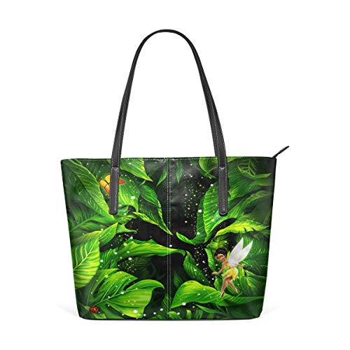 XGBags Custom Borsa a tracolla in pelle PU da donna Womens Purse Amazing Fairy With Green Leaves PU Leather Shoulder Tote Bag