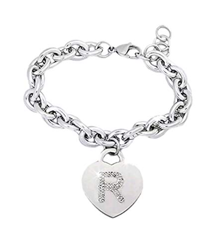 BENNY2000 Women's Bracelet with Steel Crystals with Letter - Bracelet with Initial Heart Charm and Silver Crystals - Alphabet - Adjustable Size, Birth, idea Included