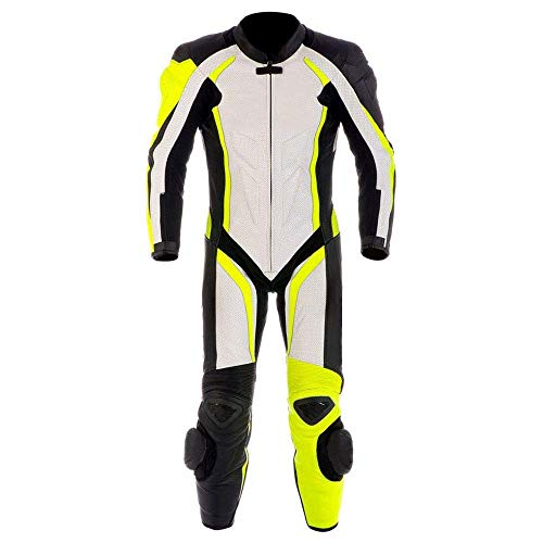 Motorcycle New Yellow/White One piece Leather Track Racing Suit CE Approved Protection (4XL)