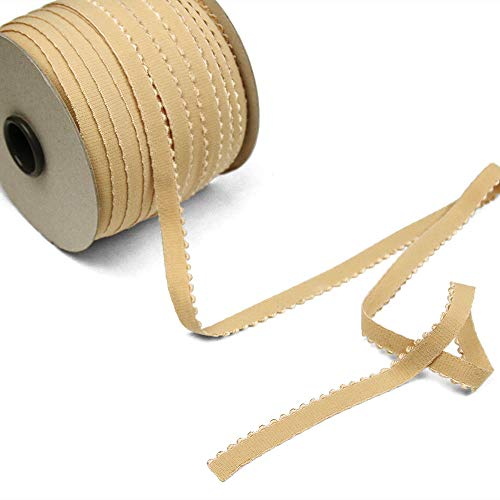 12 Yards of LYRA 11 Picot-Edge Plush Lingerie Elastic, Biscuit Tan, Made in Italy