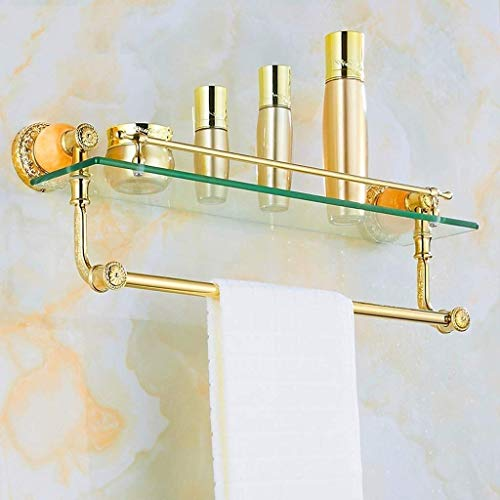 SLINGDA legering Europese badkamer houder, glazen houder voor cosmetica, handdoek rek, glazen plank dressoir (kleur: A)