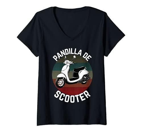 Mujer Scooter Gang Retro Vintage Ciclomotor Moto Gear 2 Wheeler Camiseta Cuello V