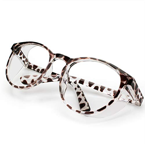 Protective Eyewear Anti-Fog Safety Goggles Clear Anti-Blue Ray Safety Glasses For Women And Men, Light-Weight Frame (Brown leopard)