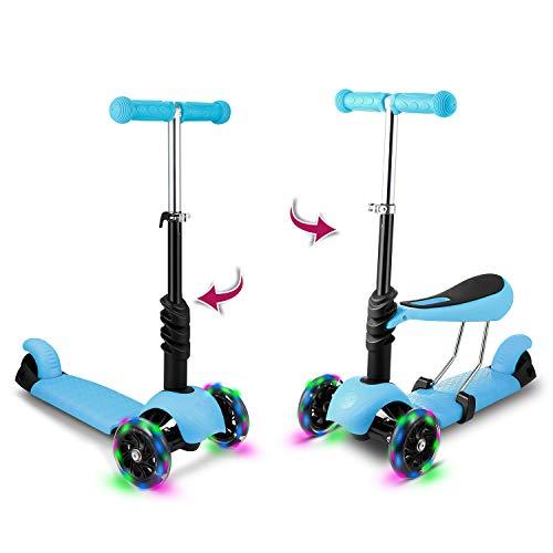 WeSkate Monopattino 2 in 1 Bambini con Sedile Staccabile Scooter per Bambini con Manubrio Regolabile e Ruote Leggere per Ragazze e Ragazzi dai 2 agli 8 Anni (Blu)