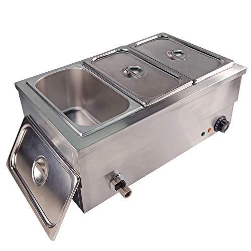 TAIMIKO - Bagno Elettrico a 3 vasche in Acciaio Inossidabile, Controllo della Temperatura con Rubinetto di Scarico 1500 W, 220-240 V, Certificazione CE