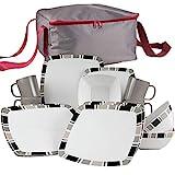 Melamin Geschirr Set Weiß 17 Teile mit Aufbewahrungstasche - 4 Personen Essgeschirr Campinggeschirr Picknick für Camping Teller Schüssel Schale Melamingeschirr Tafelgeschirr mit Reißverschluß Tasche