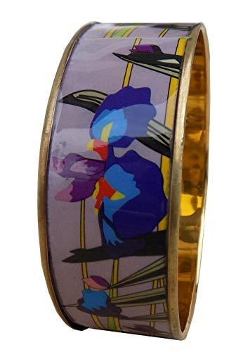 Bracelets et Pendentifs Art Déco Armband, Emaille, Handarbeit, trés Original, Blumen, Hintergrund von Malve sanft