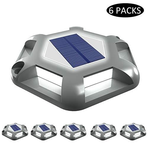 Luci Solari Giardino, T-SUNRISE 6 LED Luci Solari da Esterno Faretti Solari a LED da Esterno IP65 Impermeabile del Terreno Cortile Auto On/Off 6PC(grigio)