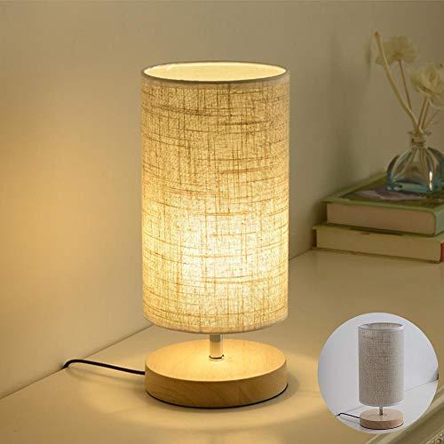 Lámpara de mesa Madera Metal LED Luz Mesita de Noche E27 Moderno Minimalista Lámpara de escritorio sobremesa Retro Pantalla de Tela para Dormitorio Sala de Estar Hogar aparador