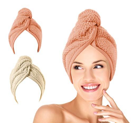 Scopri offerta per KALHIMA Dry-OFF! Turbante in Microfibra Specifica per Asciugatura Rapida Capelli (Grigio Caldo + Rosa Antico)