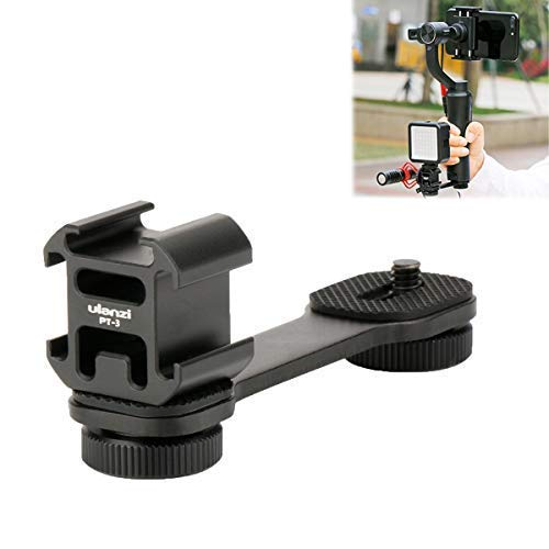 SUTEFOTO PT-3 Triple Cold Shoe Mounts Plate, Microphone Led Video Light Extension Bracket Compatibel met DJI OSMO Mobile 2 / Zhiyun Smooth 4 / Smooth Q/Feiyu Vimble 2