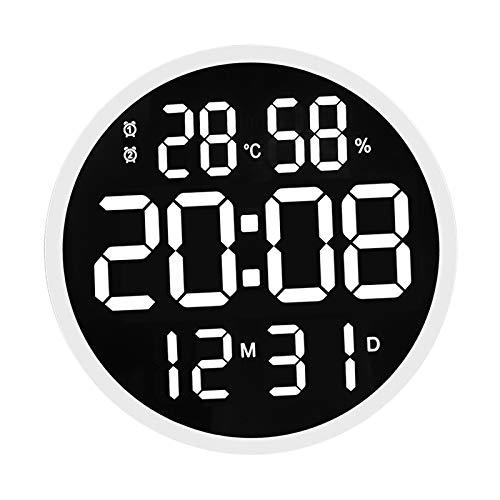 MagiDeal Reloj de pared Digital grande de 12 pulgadas, Control remoto, pantalla LED de gran número con temperatura interior, fecha y 12/24 horas - Marco blanco