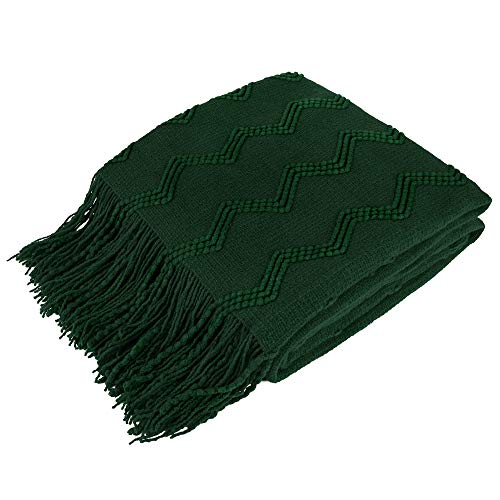PAVILIA Knitted Throw Blanket Fringe Emerald Green Dark Forest | Decorative Tassel Boho Farmhouse Decor Couch Bed Sofa Fall Outdoor | Woven Textured Afghan Soft Lightweight Cozy Acrylic 50x60