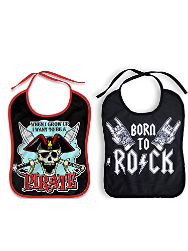 Six Bunnies Set of 2 Baby Bibs Jolly Roger Pirate & Born to Rock Tattoo Hands
