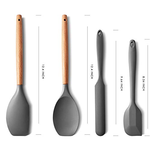Aurrako Silicone Spatula Set of 4 with 600 Degrees Fahrenheit Heat Resistant,Rubber Spatula Wooden Handle Kitchen Utensils for Nonstick Cookware Baking and Mixing Scraper (Grey)