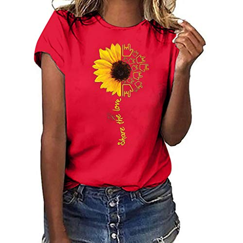 CAOQAO Sweatshirt Damen T-Shirt Damen Bluse Plus Size Print Shirt Kurzarm T-Shirt Bluse Tops Shirt LäSsige