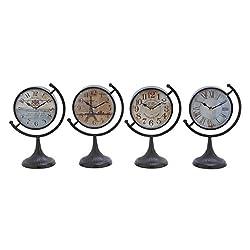 Deco 79 92201 Metal Desk Clock, 4 Assorted, 12 by 8
