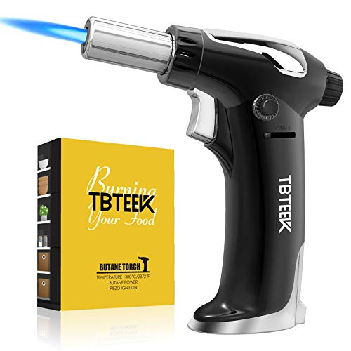 TBTEEK Butane Torch Lighter, Fit All Tank Blow Torch with Safety Lock and Adjustable Flame for Cooking, BBQ, Baking, Brulee Creme, DIY Soldering(Butane Not Included)