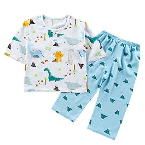 DEBAIJIA Niños Pijama 0-12T Bebé Ropa de Dormir Infantil Homewear Niña Ropa Casual Niño Animado Lindo Algodón Verano Conjuntos (Verde-120