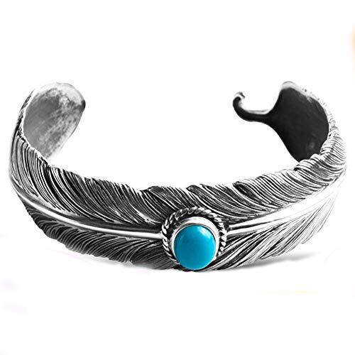 Südwesten Navajo Stil Oval Cabachon erweiterte Türkis Armreif Armbänder für Herren Feder Motiv 925 Sterling Silber