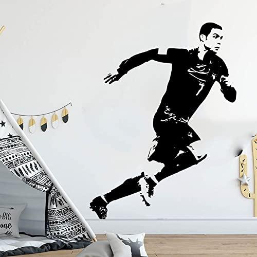 Fútbol Fútbol Deporte Manchester Star Player United FC Cristiano Ronaldo CR7 Vinilo Etiqueta de la pared Calcomanía Boy Fans Dormitorio Sala de estar Club Decoración para el hogar Mural