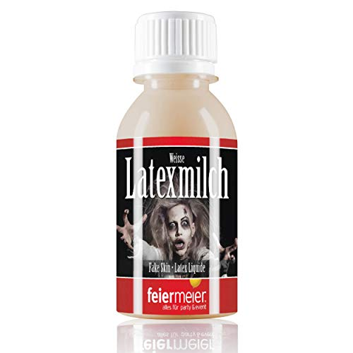 feiermeier® Latexmilch Horrorhaut 100ml beige Fake-Skin Latex Liquide für Halloween,