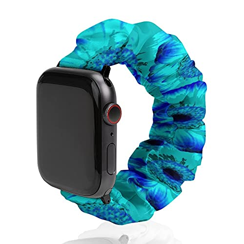 NiYoung Trippy Blue Tie Dye Elastic Watch Band Compatible with Apple Watch 38mm/40mm,42mm/44mm Replacement Bands Loop Compatible with Iwatch Series 6/5/4/3/2/1 for Women Girls