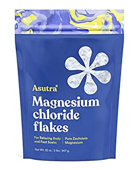 ASUTRA Magnesium Chloride Bath Flakes 2 lbs | For Foot & Body Soaks| Relieve Muscle Cramps | Fight Joint Pain | Stress Anxiety Headache Relief | Pure Zechstein | Absorbs Faster Than Epsom Salts