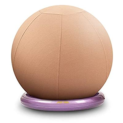 SportShiny Pro Balance Ball Chair – Exercise Stability Yoga Ball with Cozy Slipcover,Stability Ring&Air Pump for Office&Home Desk,Improve Balance,Core Strength&Posture,Relieve Back Pain,75cm, Apricot