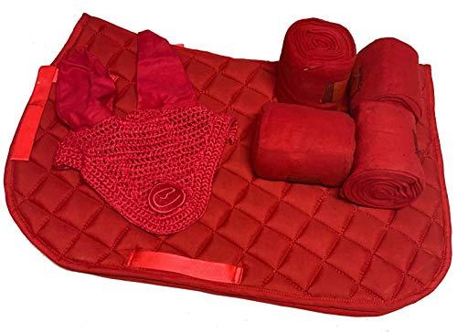 Countrypride GP/AP Schabracke mit passenden Bandagen Fliegenschleier Matchy Set rot (Pony)