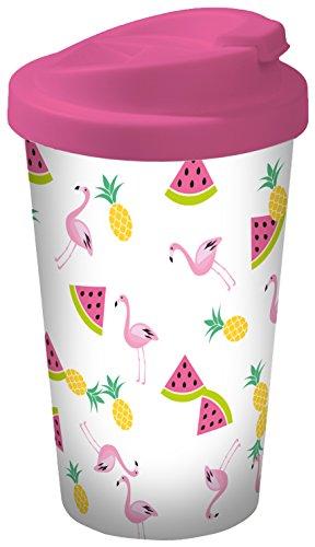 infinite by GEDA LABELS 15934 Flamingo Fruits Coffee to go Gobelet, Plastique, Multicolore, 9 x 9 x 17 cm
