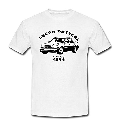 T-Shirt w124 230E 280E Limousine Youngtimer Oldtimer Auto PKW weiß/schwarz Gr. L