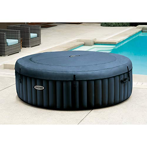 Intex 28431E PureSpa Plus 85in x 25in Outdoor Portable Inflatable 6 Person Round Hot Tub Spa with 170 Bubble Jets, Cover, LED Light, and Built in Heater Pump, Navy