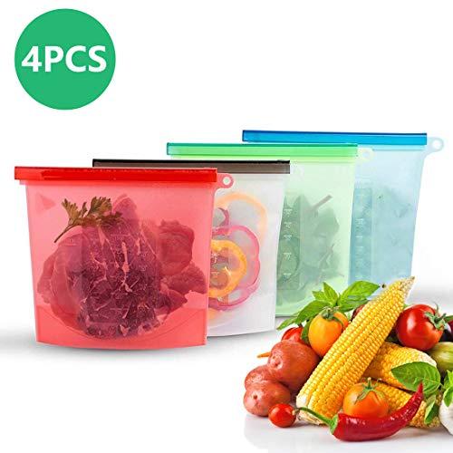 Homealexa Silikonbeutel Lebensmittel Beutel Wiederverwendbar Silikon Kochbeutel Küche Beutel Aufbewahrungsbeutel für Obst Gemüse Fleisch Snacks 4 Stück (1000ML)