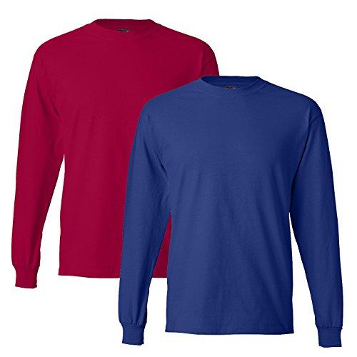 Hanes Camiseta estampada de manga larga con 2 pares de hombre, grande, 1 roja / 1 real