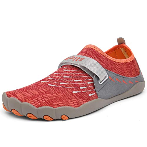 ZOEASHLEY Herren Damen Wandern Barfußschuhe Trekking Schuhe Sommer Ultraleicht Outdoor Fitnessschuhe mit Rutschfest Weiche Sohle Gr.36-46, Orange, 40 EU