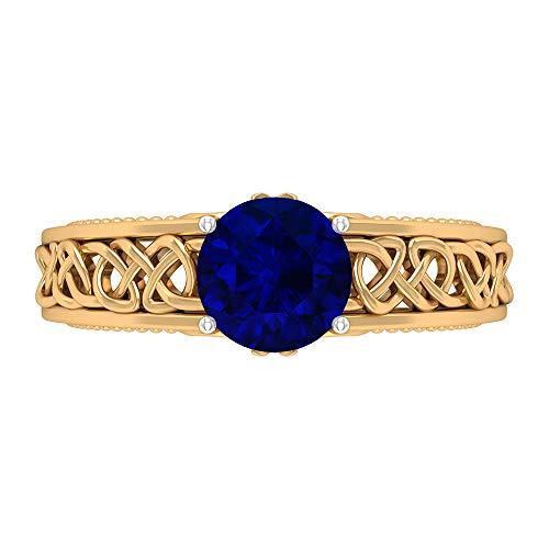 Rosec Jewels 14 quilates oro amarillo redonda Round Brilliant Blue Moissanite Zafiro difuso