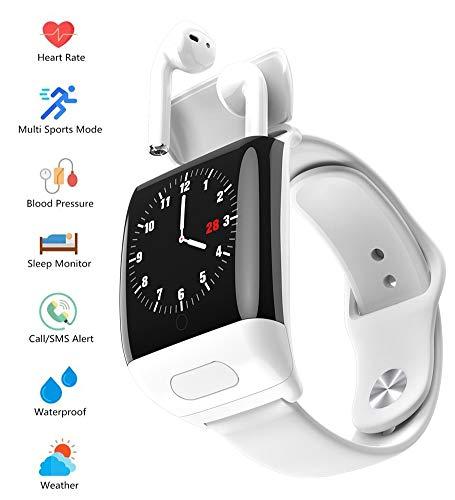AZCSPFALB 1.4 Zoll Männer und Frauen Fitness Tracker, Bluetooth Headset Touch-Farbdisplay Smart Watch Multisport-Modus Wasserdicht Schrittzähler für IOS Android