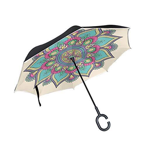 SKYDA Paraguas invertido Doble Capa, Plegable, con diseño de Mandala Floral, Resistente al Viento, Paraguas para la Lluvia y el Aire Libre, con Mango en Forma de C