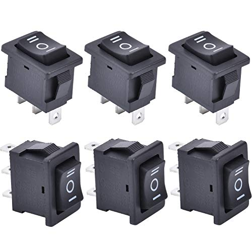 APIELE KCD1-2-103 - Interruptor basculante (3 posiciones, 250 V CA, 6 A, SPDT, 3 pines, 6 unidades), color negro