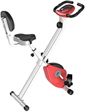 Soozier Foldable Upright Training Exercise Bike Indoor Stationary X Bike with 8 Levels of Magnetic Resistance for Aerobic Exercise, Red