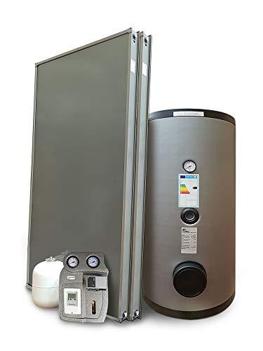 Kit impianto solare termico a svuotamento a pannelli piani per produzione Acqua Calda Sanitaria (2 pannelli, bollitore 300 litri)
