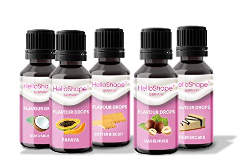 Mix-Box | Flavour Drops zuckerfrei (Set, 5x 30ml) Geschmackstropfen OHNE KALORIEN - 5 tolle Geschmackssorten im Vorteilspack | vegan | Für Naturjoghurt, Porridge oder Quark - Hello Shape