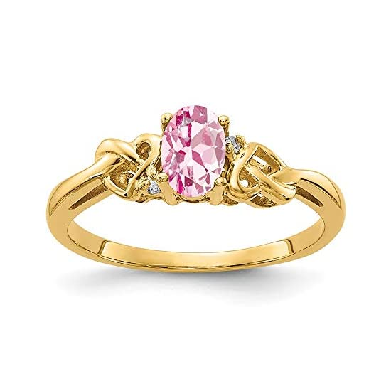 Solid 14k Yellow Gold 6x4mm Oval Pink Tourmaline October Gemstone Diamond Engagement Ring