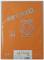 リンテック 色画用紙 ゴークラニューカラーR A4 だいだい50枚NO213